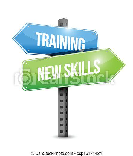 訓練, 技能, 插圖, 簽署, 設計, 新, 路 - csp16174424