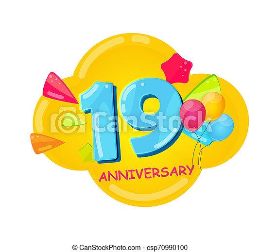 記念日, 漫画, テンプレート, 19, 年, かわいい, イラスト - csp70990100