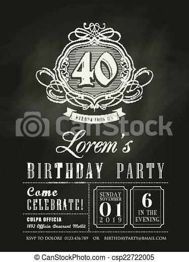 記念日, birthday, 黒板, 背景, 招待, カード - csp22722005