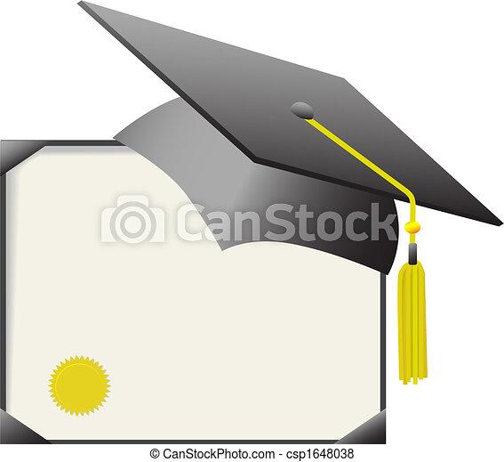証明書, &, 帽子, 卒業証書, 卒業, mortarboard - csp1648038