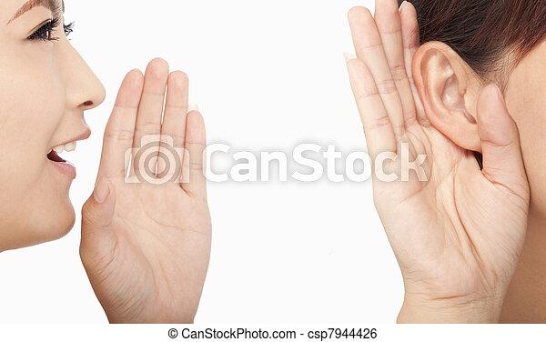 話し, 女性, 聞くこと, うわさ話 - csp7944426