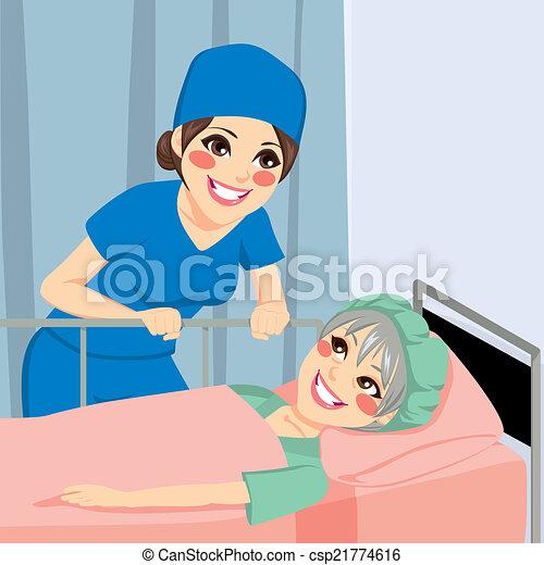 話し, 看護婦の患者 - csp21774616
