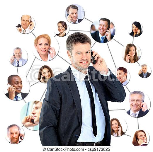 話し, 電話, グループ, 人々 - csp9173825