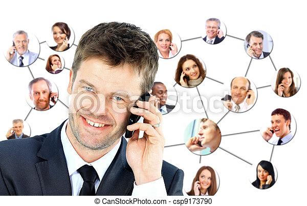 話し, 電話, グループ, 人々 - csp9173790