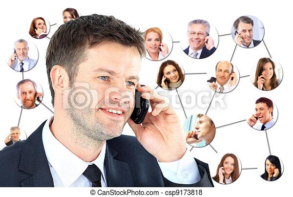 話し, 電話, グループ, 人々 - csp9173818