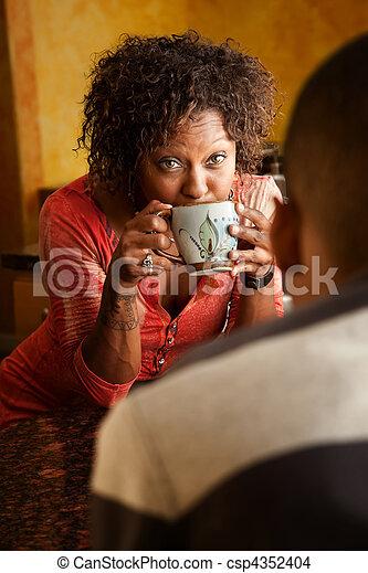 話, 女, マレ, 台所, african-american - csp4352404
