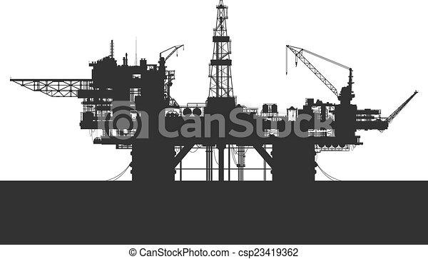 詳しい, オイル, rig., illustration., プラットホーム, ベクトル, sea., 海 - csp23419362