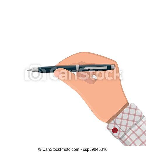 詳しい, ペン, ボールペン, 手。, クラシック - csp59045318