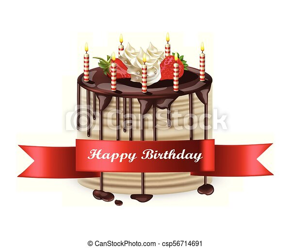 詳しい Realistic バースデーケーキ ベクトル イラスト 3d 幸せ