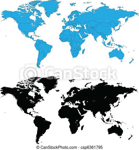 詳細, 世界, 矢量, 地圖 - csp6361795