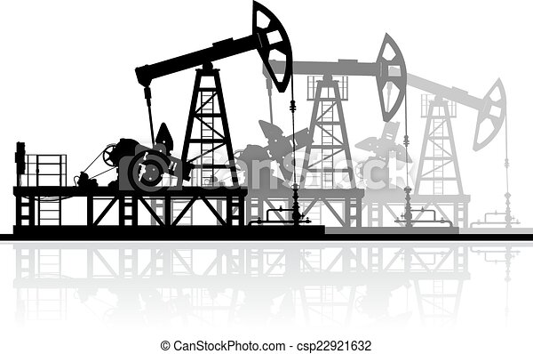 詳細, 油, 黑色半面畫像, illustration., 被隔离, 背景。, 矢量, 泵, 白色 - csp22921632