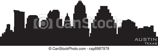 詳細, 黑色半面畫像, 奧斯汀, 矢量, skyline., 得克薩斯 - csp8987979