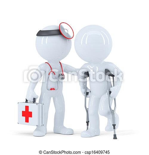 談話, 拐杖, 病人, 醫生 - csp16409745