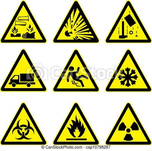 警告, セット, 4, サイン - csp10798287