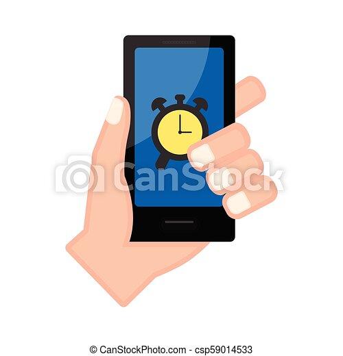警報, smartphone, app, 手を持つ - csp59014533
