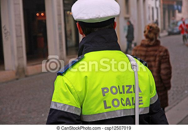 警察, 市の, サービス, 警官, 通り, イタリア, ユニフォーム, の間, 監視 - csp12507019