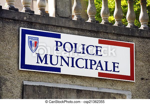 警察, 市の, フランスの印 - csp21362355