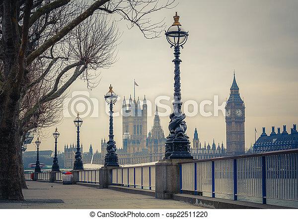 議會, 大本鐘, 倫敦, 房子 - csp22511220