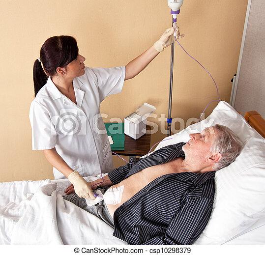 護士病人, infusio, 給 - csp10298379