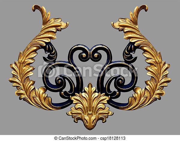 设计, 元素, 金子, 葡萄收获期, 装饰物, 植物群 - csp18128113