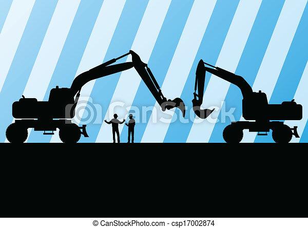 详尽, 采矿, excavator, 站点, 描述, 拖拉机, 侧面影象, 矢量, 背景, 建设 - csp17002874