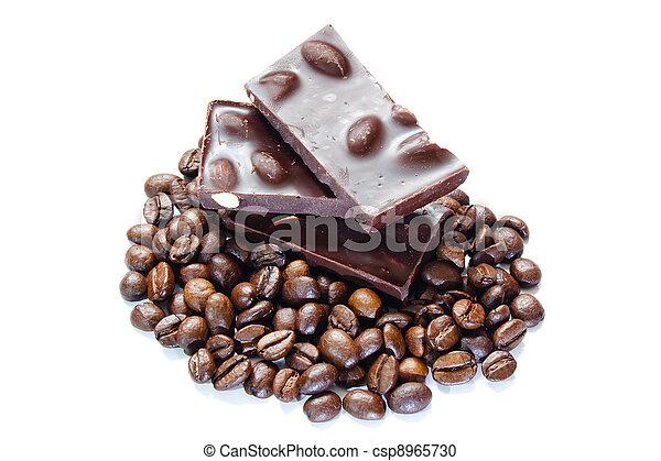 豆, 咖啡, 片斷, 堅果, 巧克力 - csp8965730