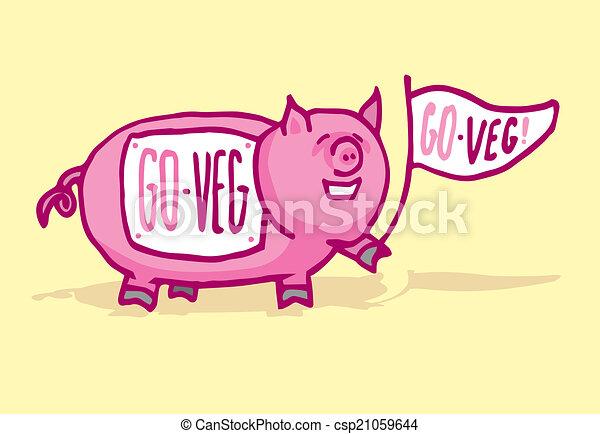 豚, 面白い, veganism, 支持 - csp21059644