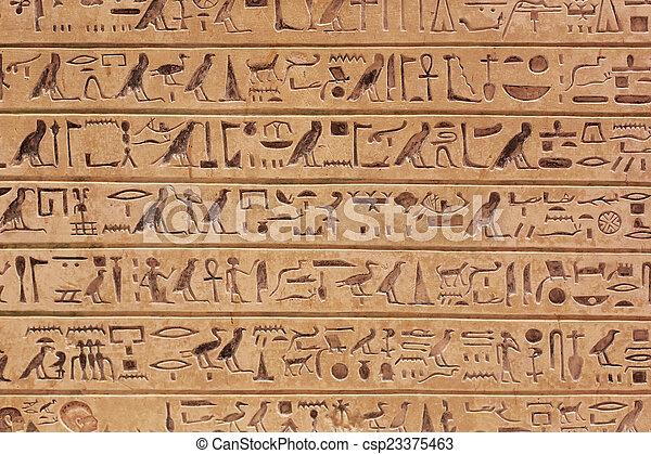 象形文字, 背景, エジプト人 - csp23375463