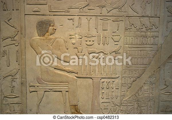 象形文字, 背景, エジプト人 - csp0482313