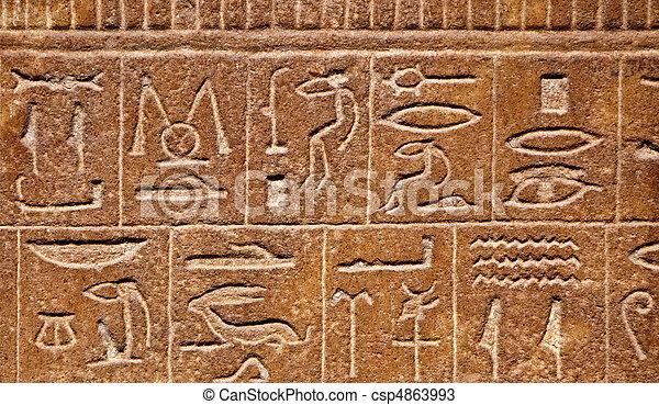 象形文字, 背景, エジプト人 - csp4863993