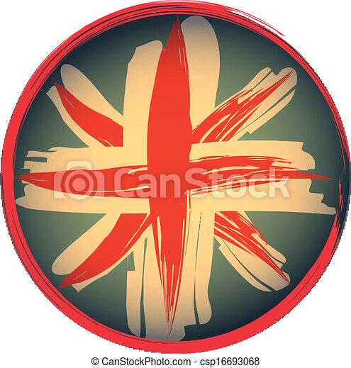 象征, 旗, grunge, 風格, 英國人 - csp16693068