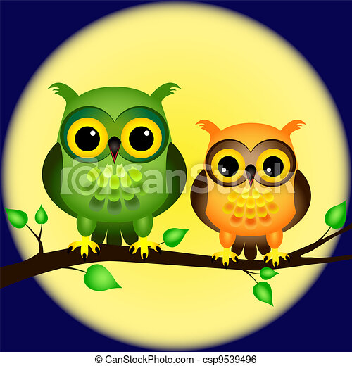 貓頭鷹, 充分, 分支, 月亮 - csp9539496