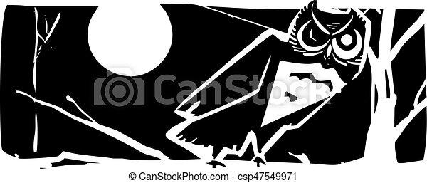 貓頭鷹, 夜晚 - csp47549971
