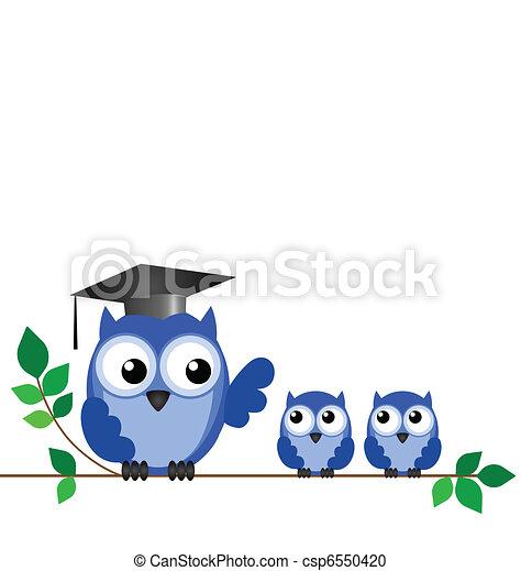 貓頭鷹, 老師, 小學生 - csp6550420