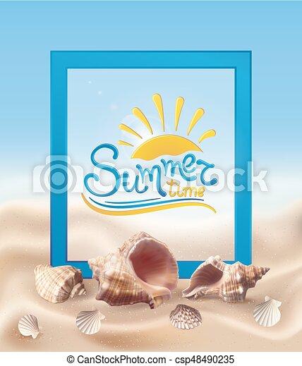 貝殻, 砂 - csp48490235