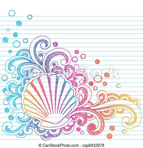 貝殻, sketchy, doodl, 浜, カキ - csp8432978
