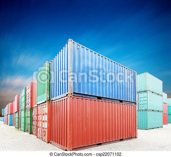 貨物, 堆, 容器, 船塢 - csp22071102