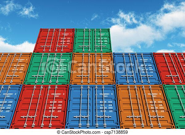 貨物, 天空, 在上方, 藍色, 堆積, 顏色, 容器 - csp7138859