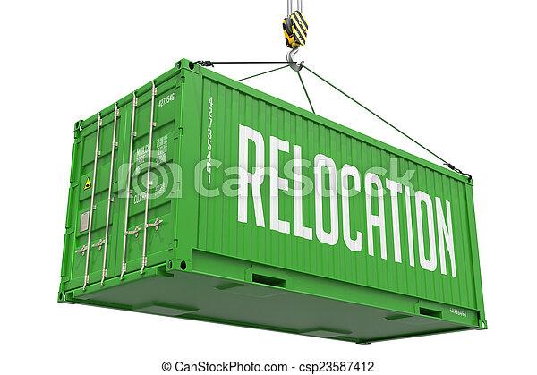 貨物, container., 拆遷, -, 綠色, 懸挂 - csp23587412