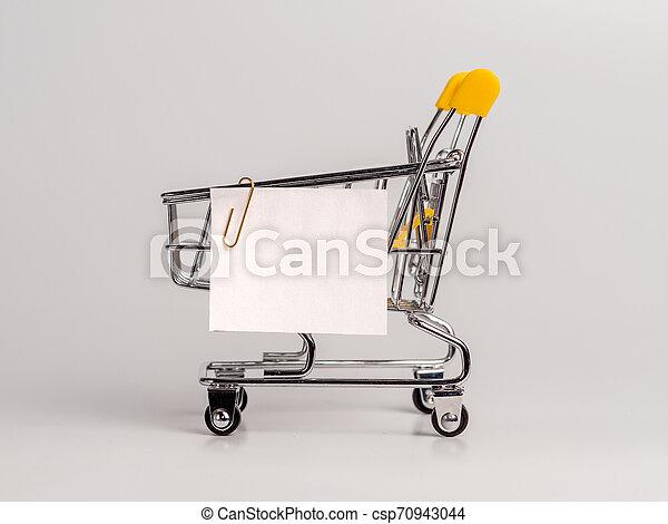 買い物リスト, カート, ノートペーパー, 白 - csp70943044