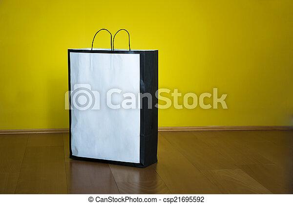 買い物, スペース, 木製の床, 袋, コピー - csp21695592