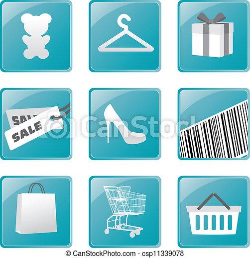 買い物, set., ベクトル, デザイン, アイコン - csp11339078