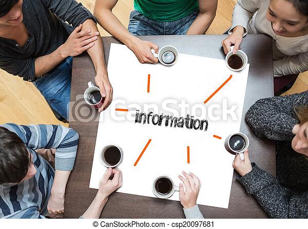 資訊, 咖啡, 詞, 大約, 人們坐, 桌子, 喝酒, 頁 - csp20097681
