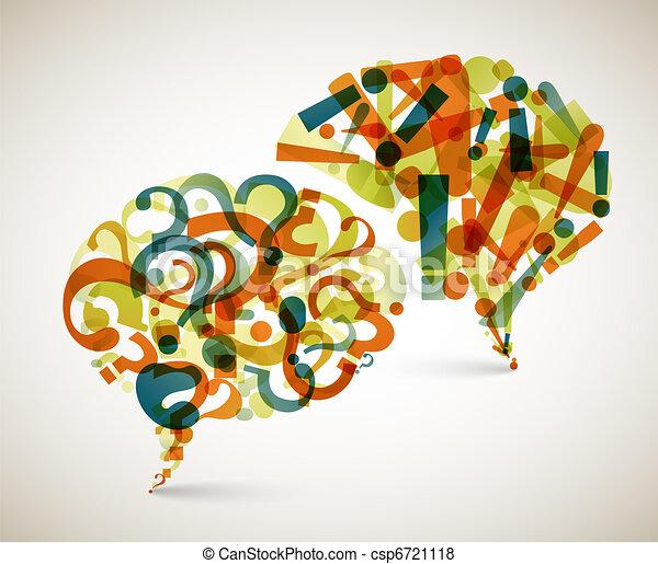 質問, 抽象的, -, 答え, イラスト - csp6721118