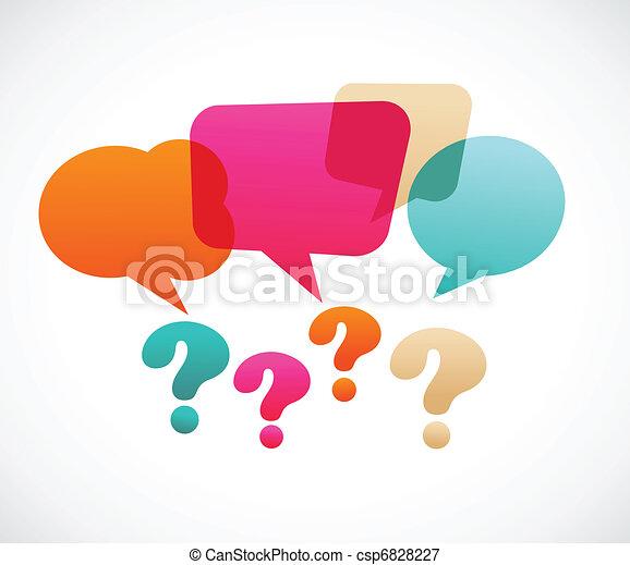質問, bubles, スピーチ, 印 - csp6828227
