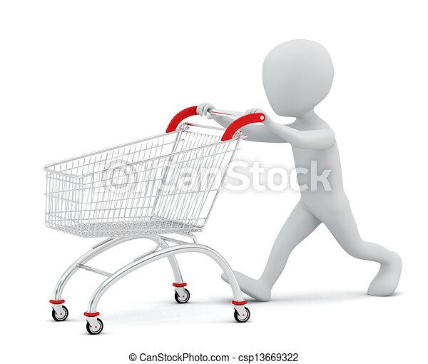 購物, 人們, -, cart., 小, 3d - csp13669322