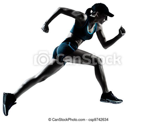 賽跑的人, 慢跑者, 跑, 婦女 - csp9742634