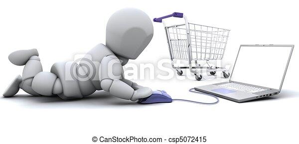 贈り物, ラップトップ, 買い物, 人 - csp5072415