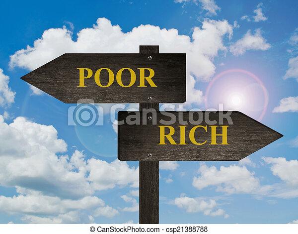 贫穷, directions., 富有 - csp21388788