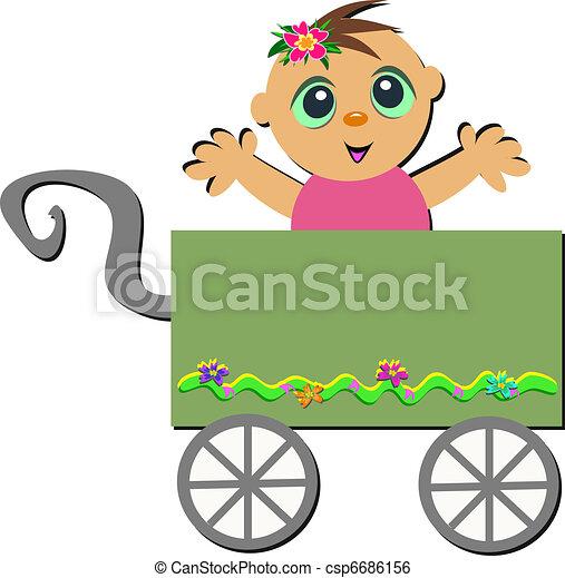 赤ん坊, カート, 幸せ - csp6686156